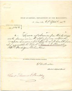 Bradley Letter: April 29, 1862
