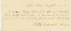 Bradley Letter: May 20, 1862