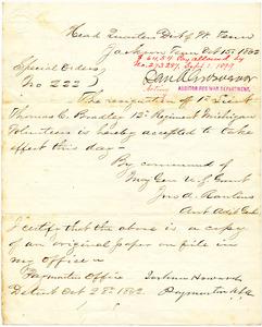 Bradley Letter: October 15, 1862