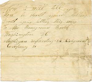Benjamin B. Brock Letter: Directions for Mailing Letters, no date (December 1862?)
