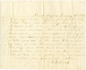 Benjamin B. Brock Letter: January 19, 1862