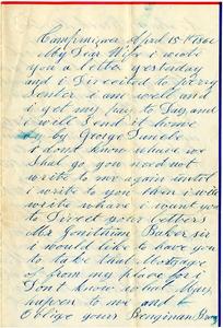 Benjamin B. Brock Letter: April 15, 1862