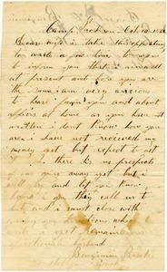 Benjamin B. Brock Letter: October 14, 1862
