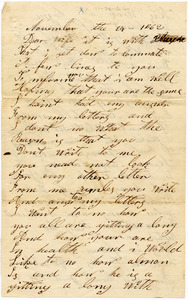 Benjamin B. Brock Letter: November 24, 1862