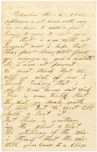 Benjamin B. Brock Letter: December 4, 1862