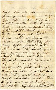 Benjamin B. Brock Letter: January 6, 1863