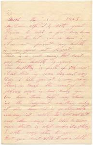 Benjamin B. Brock Letter: March 1, 1863