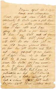 Benjamin B. Brock Letter: April 6, 1863