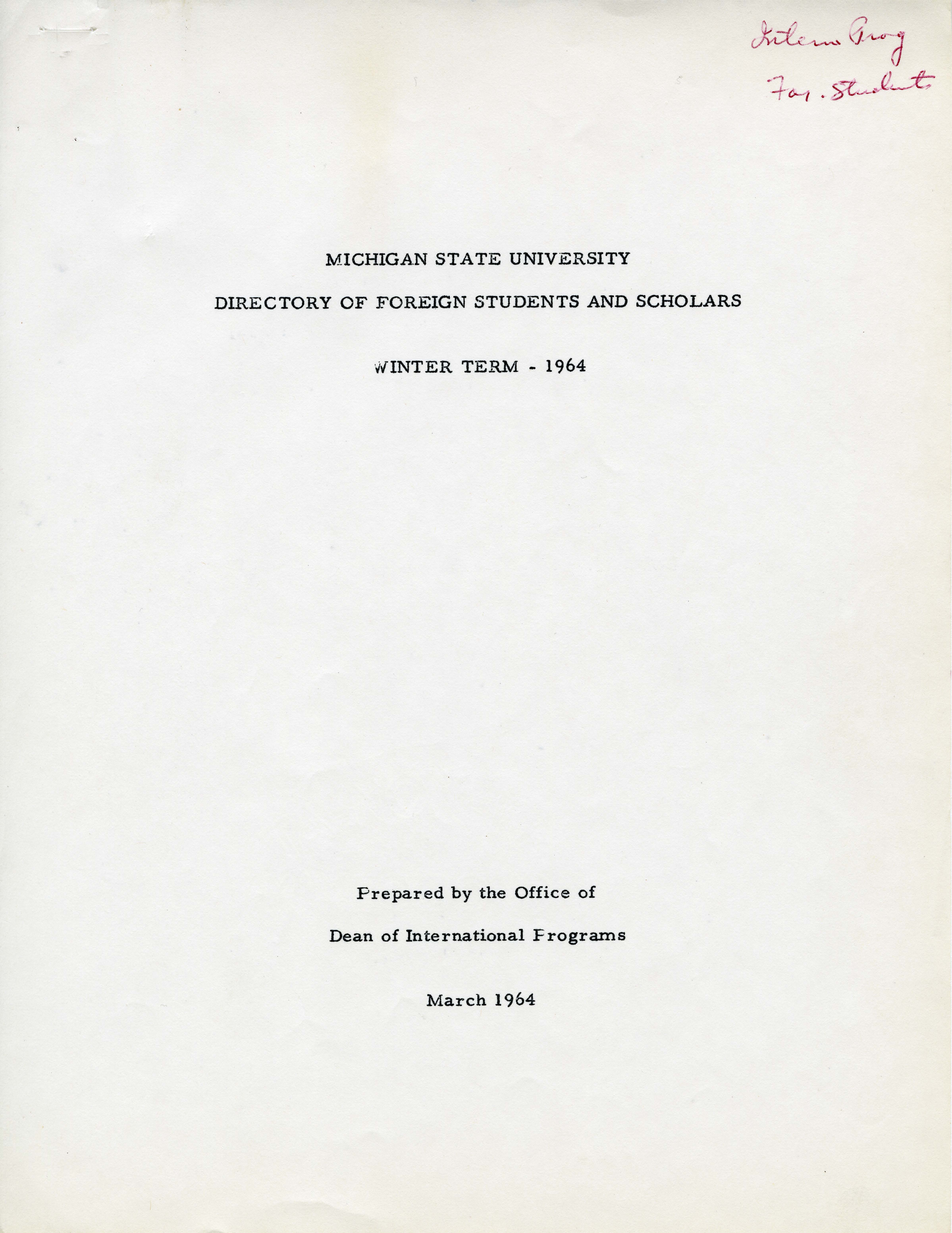 1964 (Winter) International Students and Scholars Directory