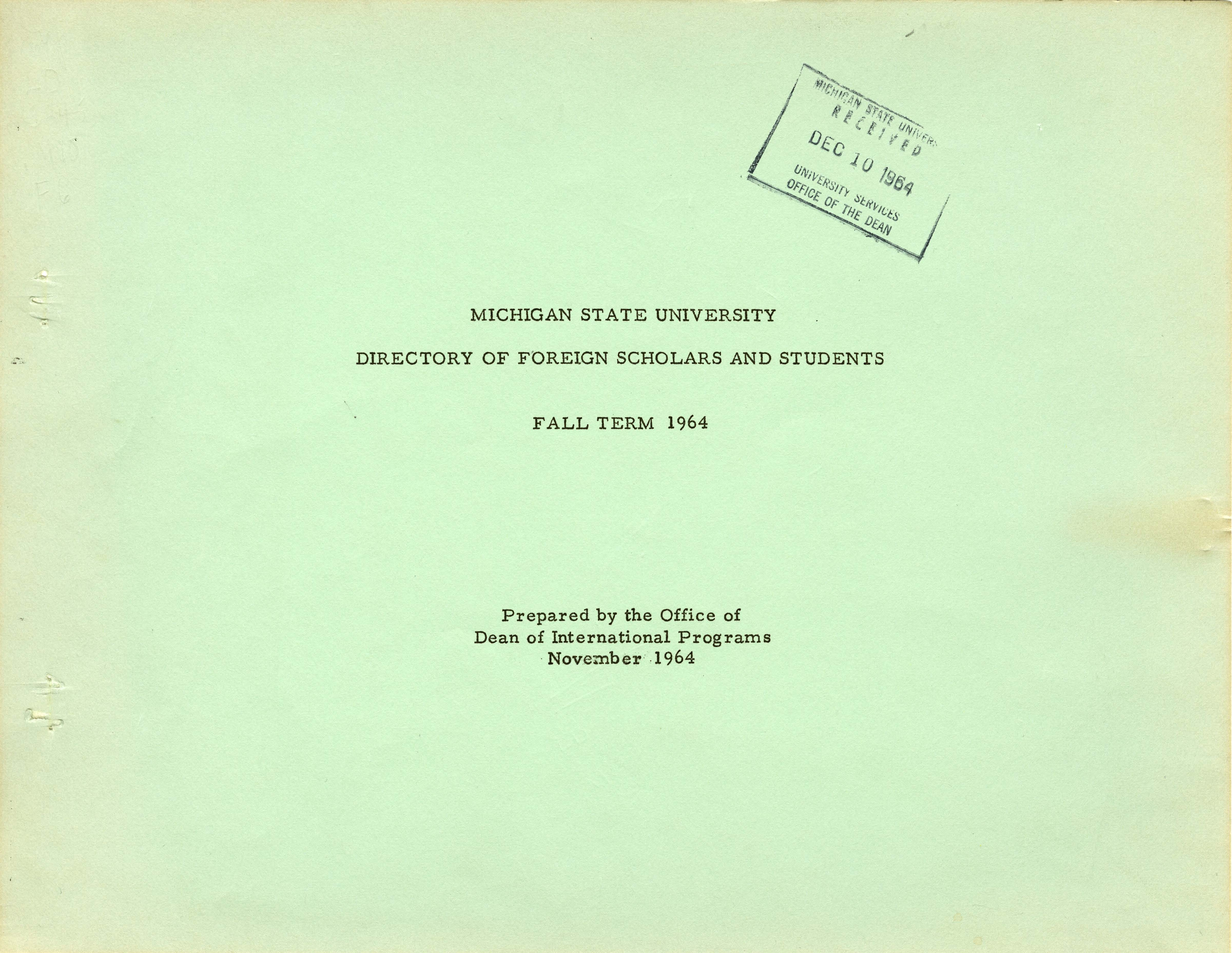1964 (Fall) International Student and Scholar Directory