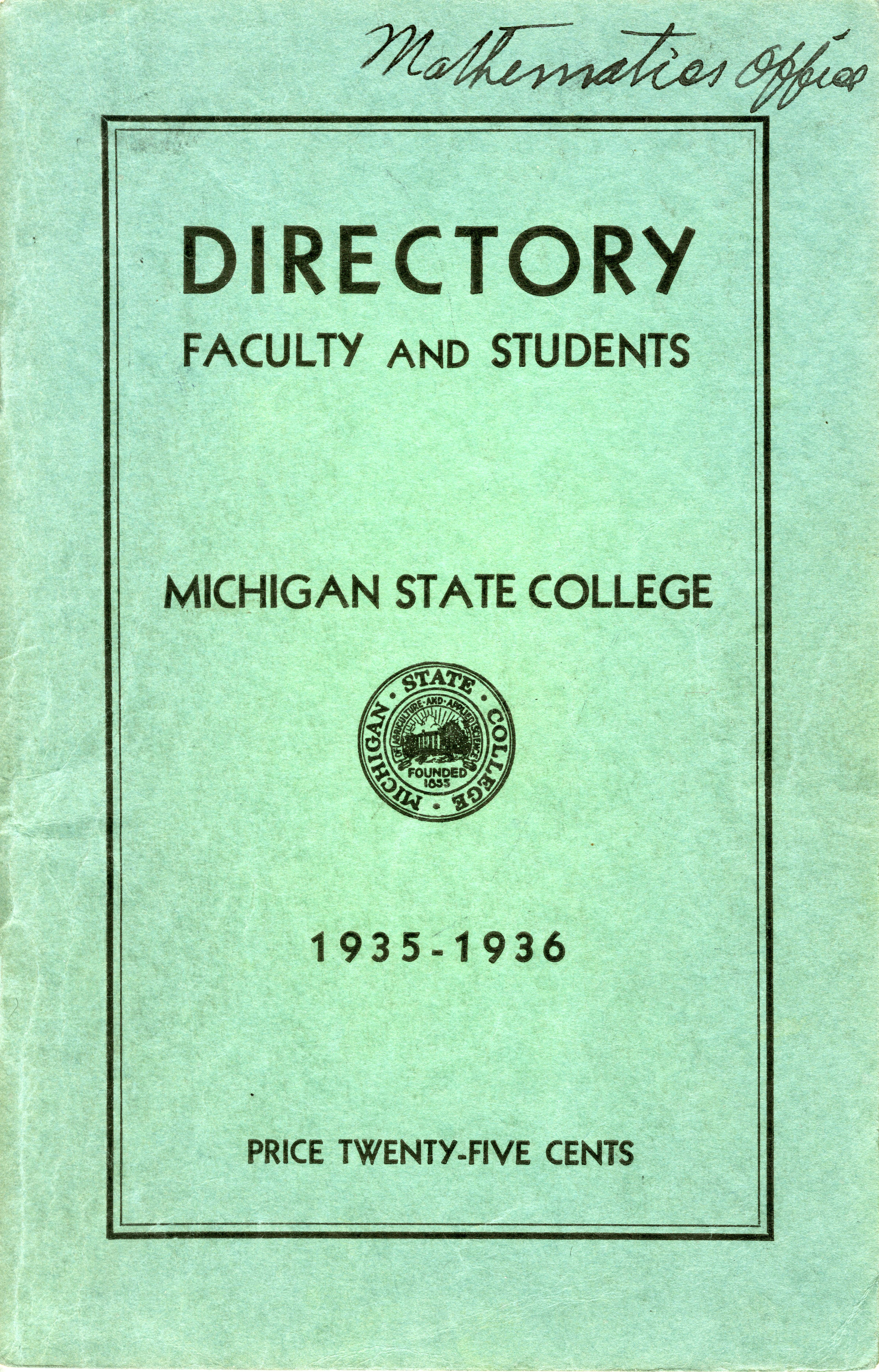 1935-1936 Michigan State College Faculty and Student Directory