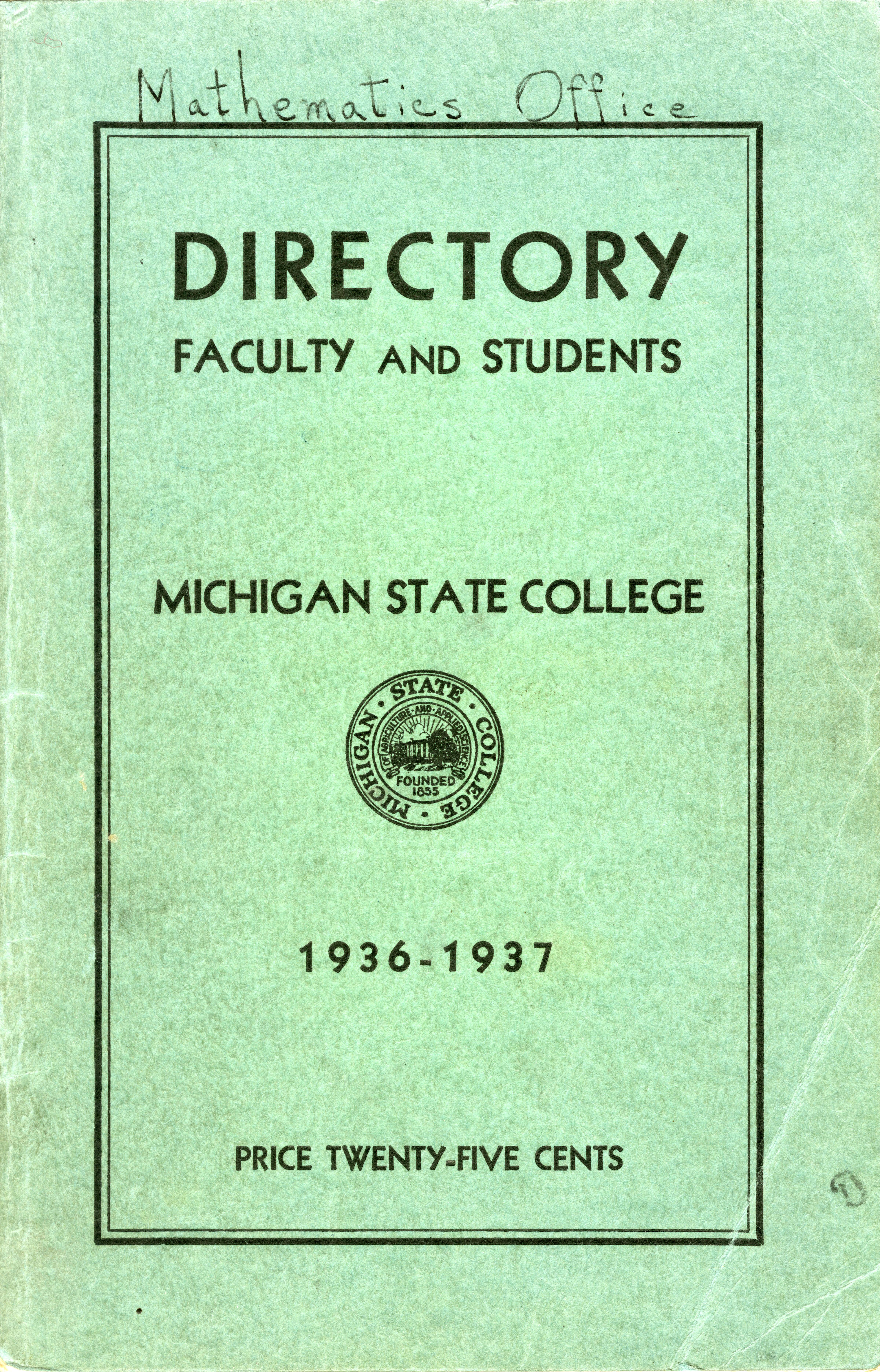 1936-1937 Michigan State College Faculty and Student Directory