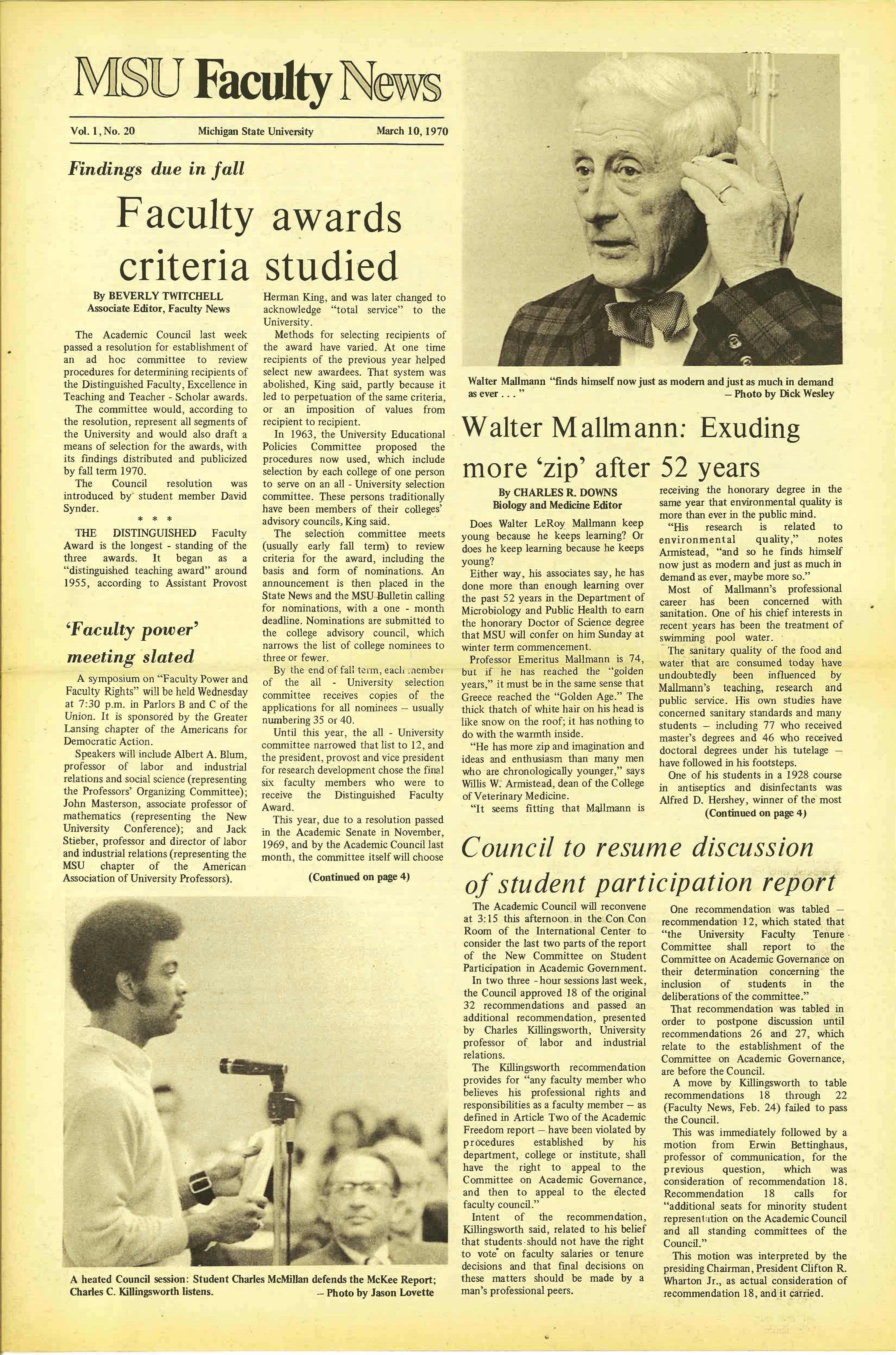 MSU News Bulletin, Vol. 1 No. 20, March 10, 1970