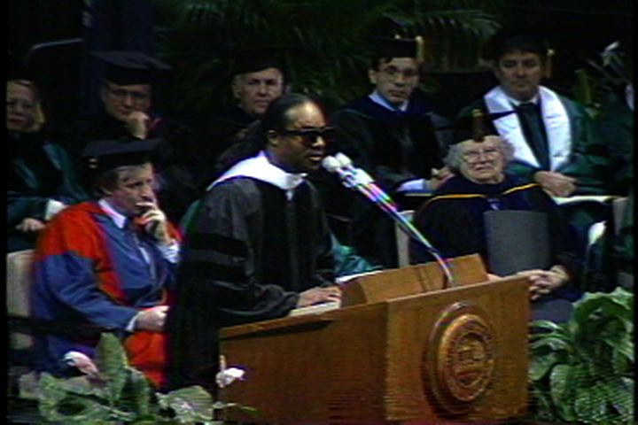 Stevie Wonder Speaks at Fall Commencement, 1989