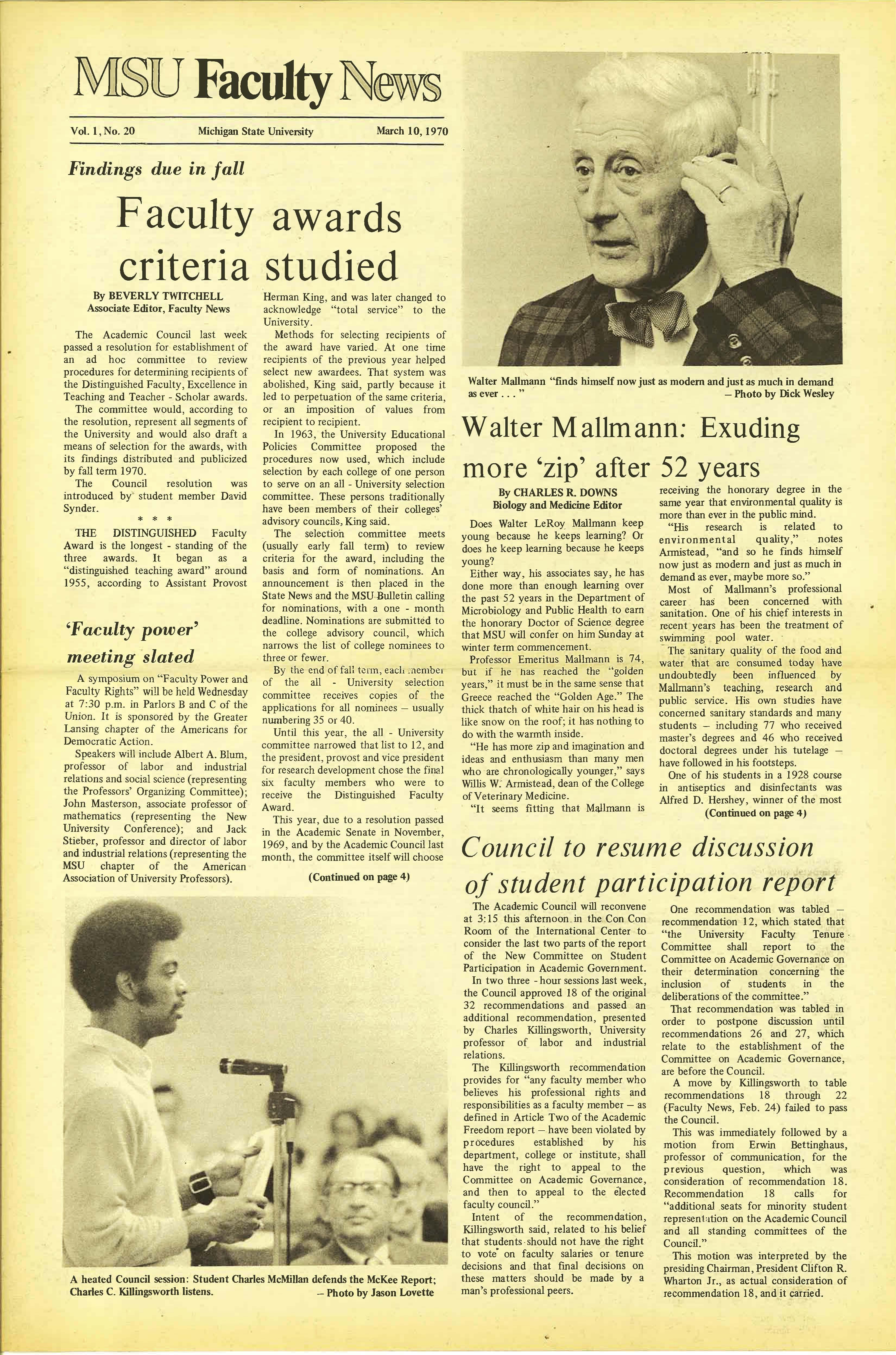 MSU News Bulletin, Vol. 1, No. 12, January 13, 1970
