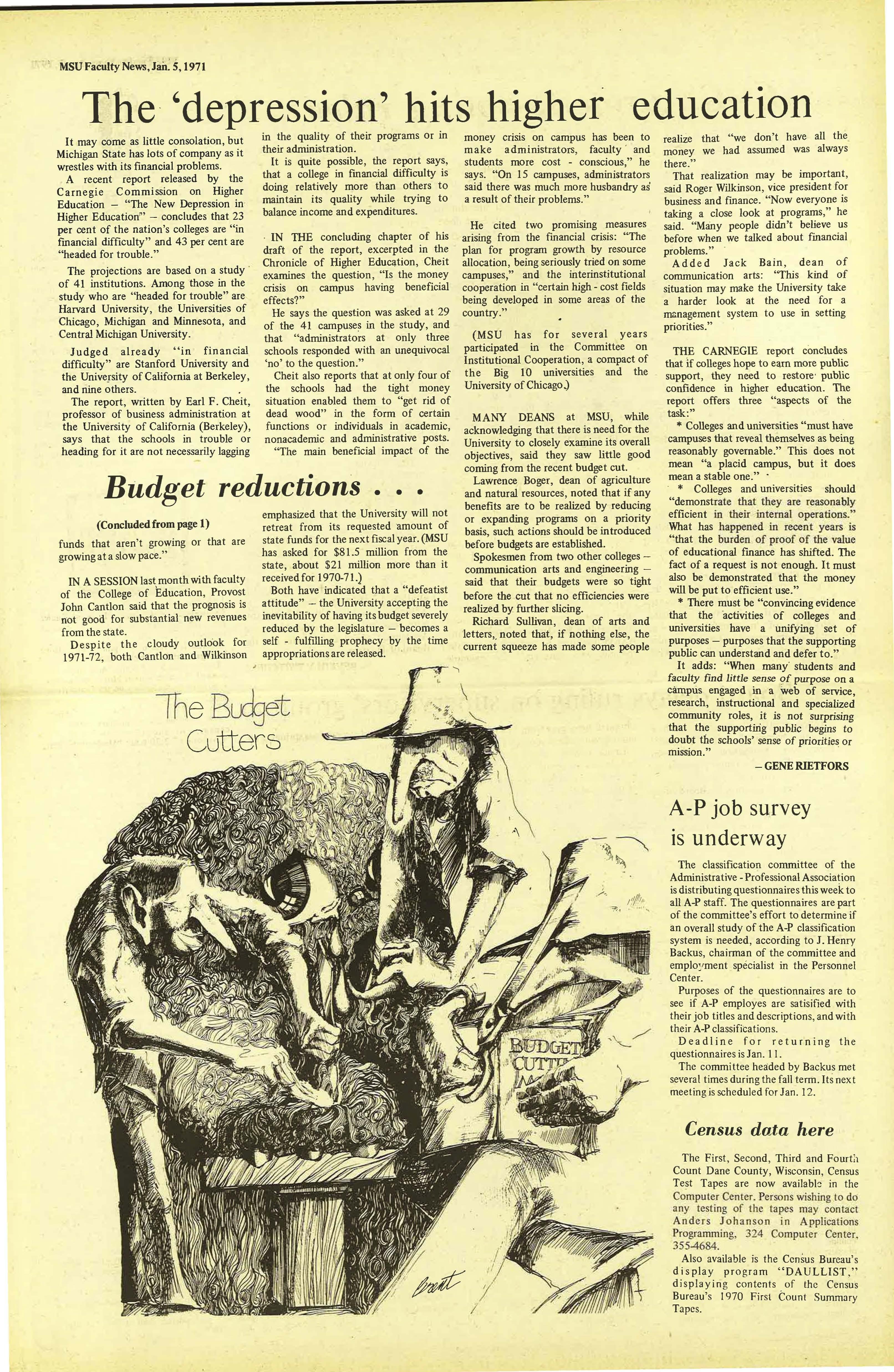 MSU News Bulletin, vol. 2, No. 23, April 15, 1971