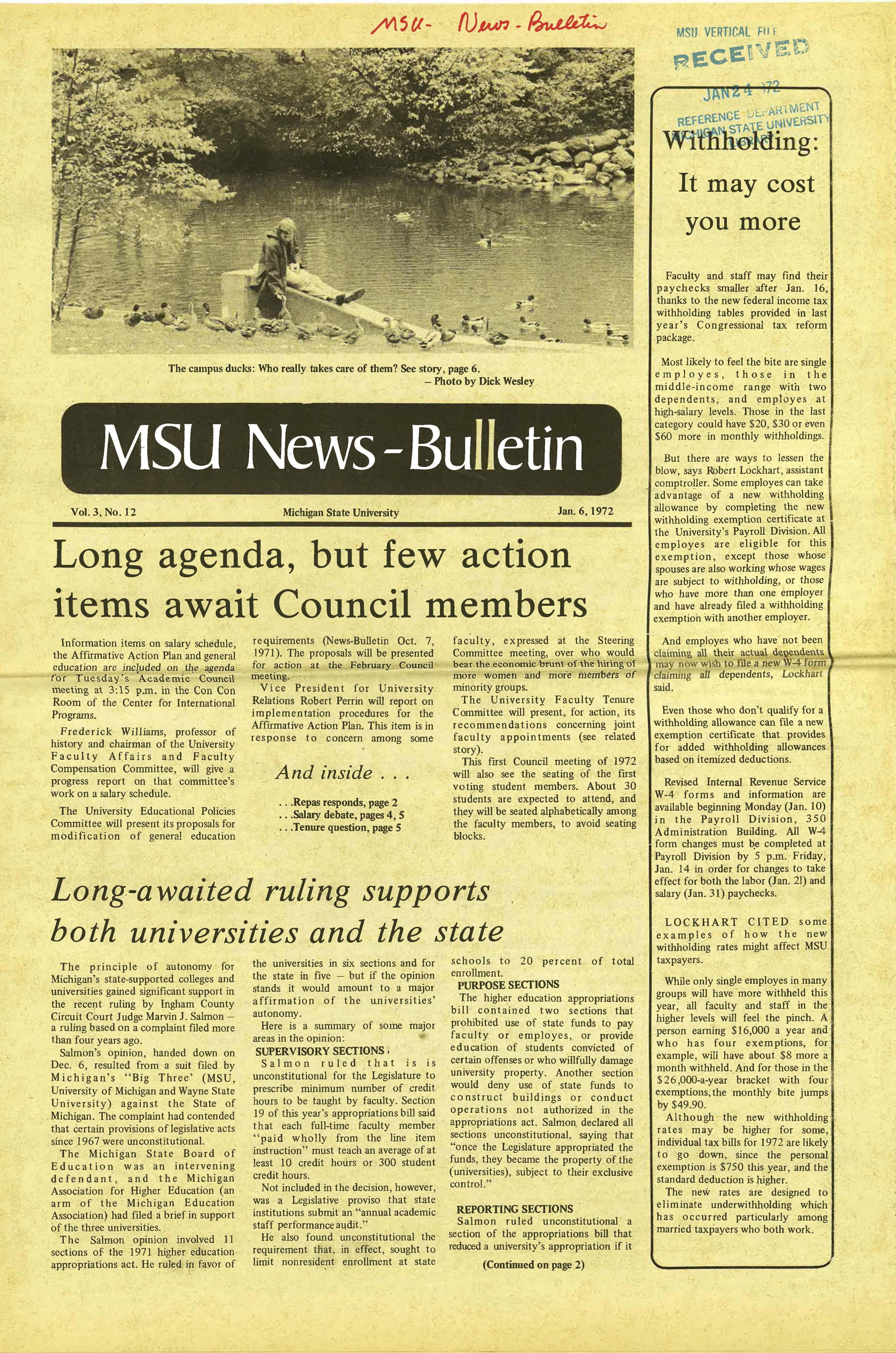 MSU News Bulletin, vol. 3, No. 12, January 6, 1972