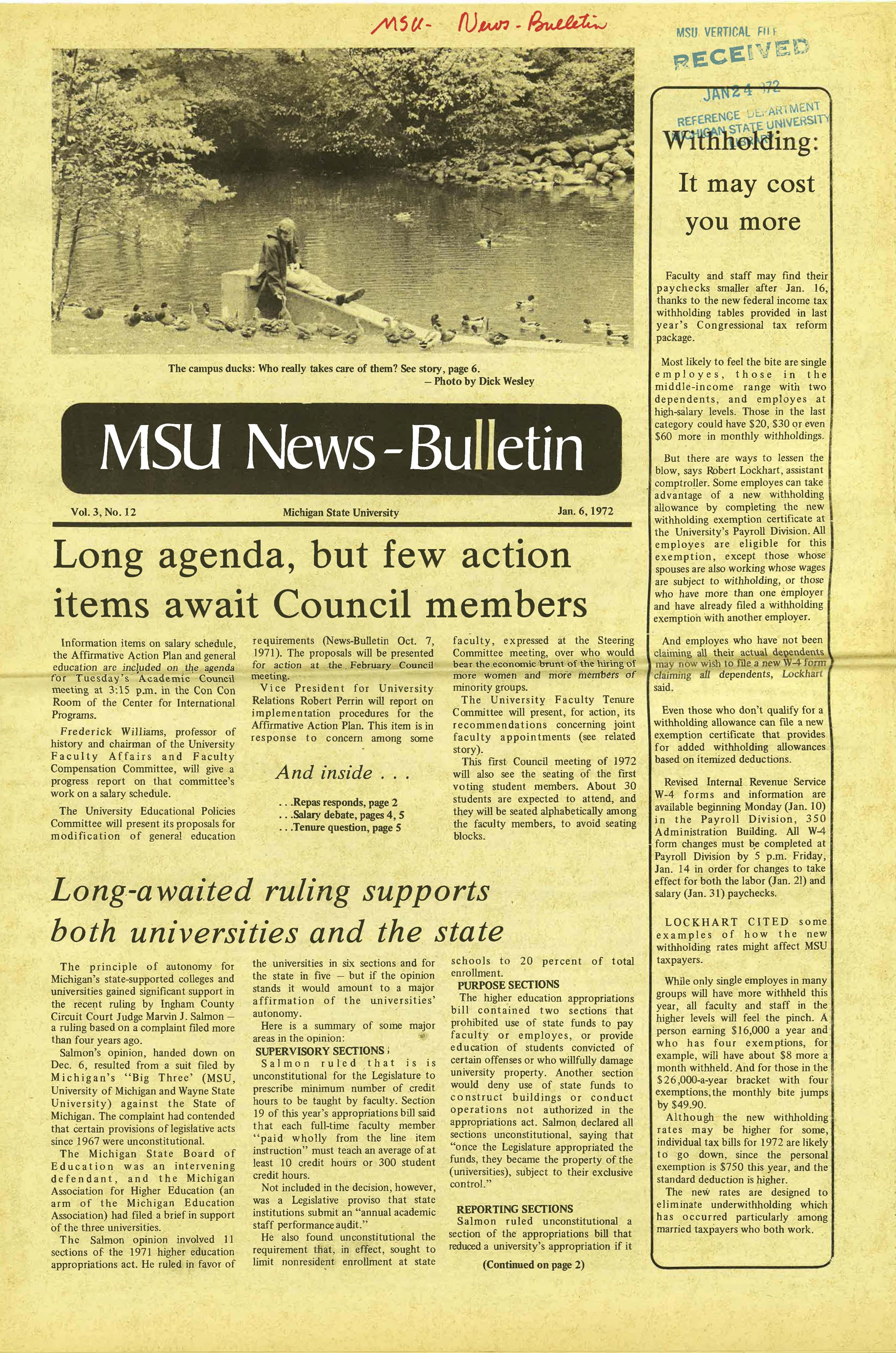MSU News Bulletin, vol. 3, No. 27, May 4, 1972