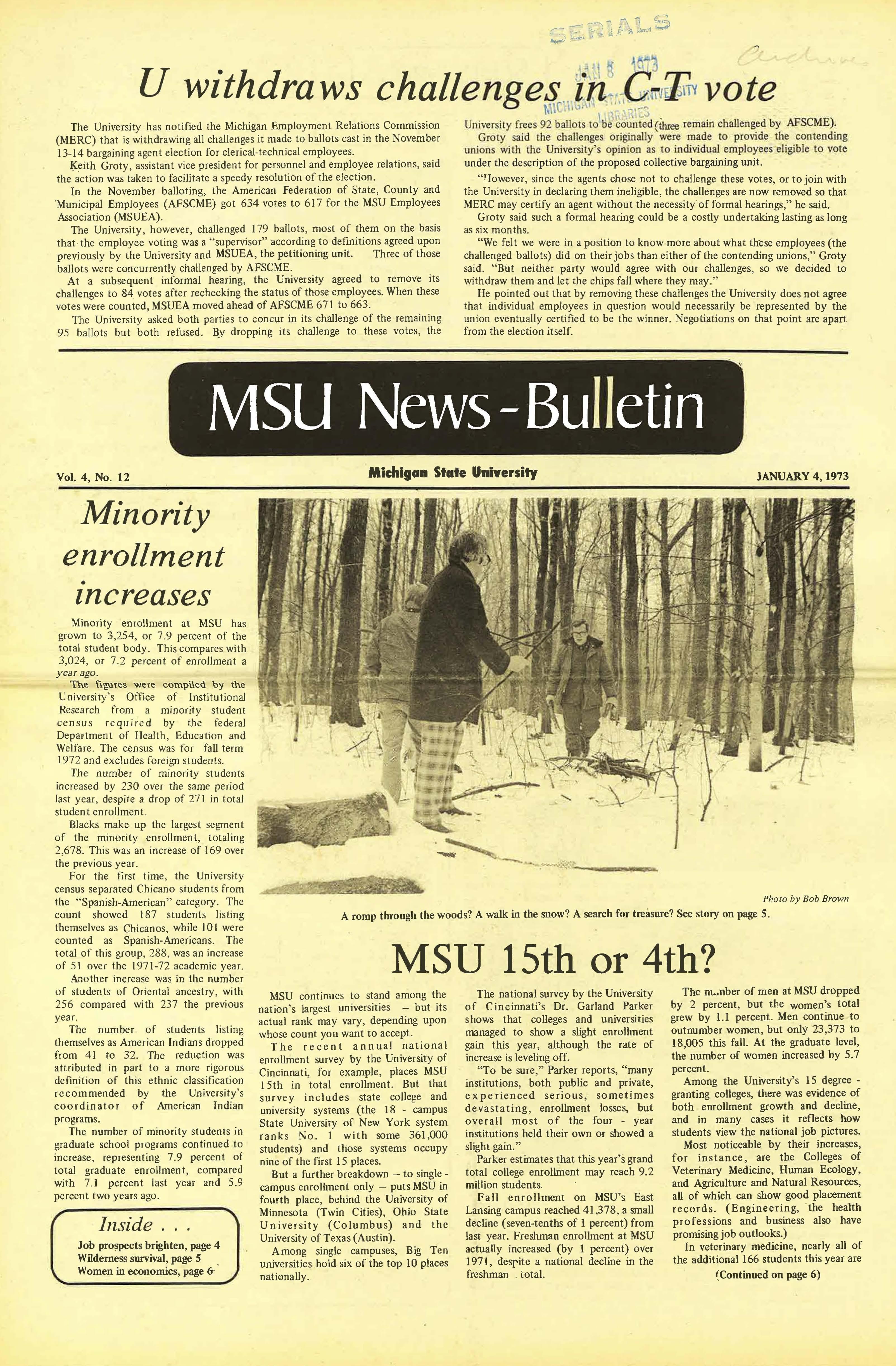 MSU News Bulletin, vol. 4, No. 13, January 11, 1973