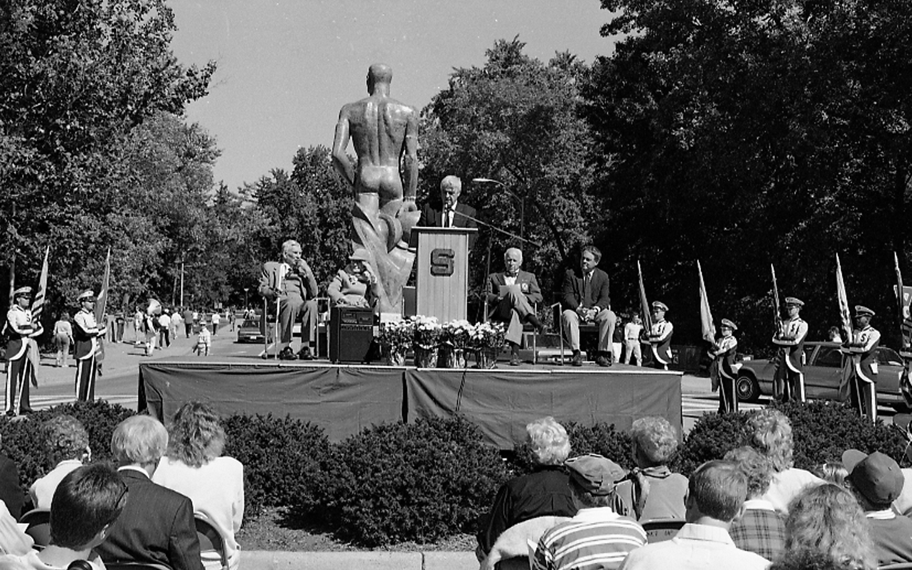 Rededication of the Sparty Statue, 1989
