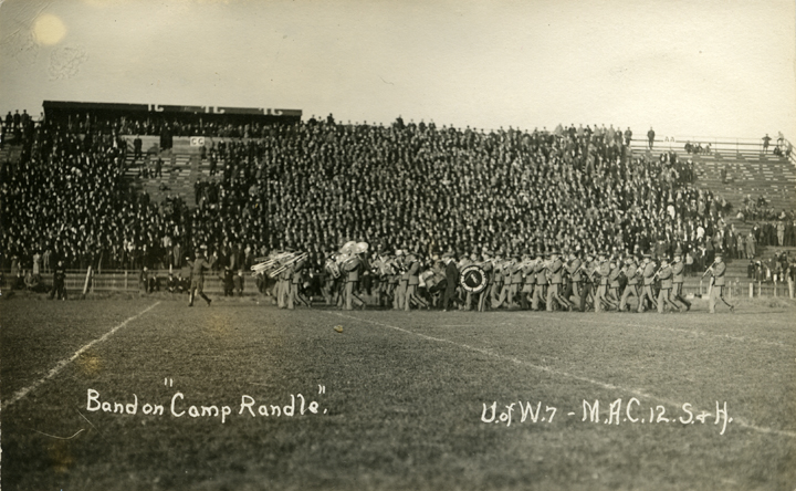 Marching band playing at a University of Wisconsin vs. M.A.C. football game