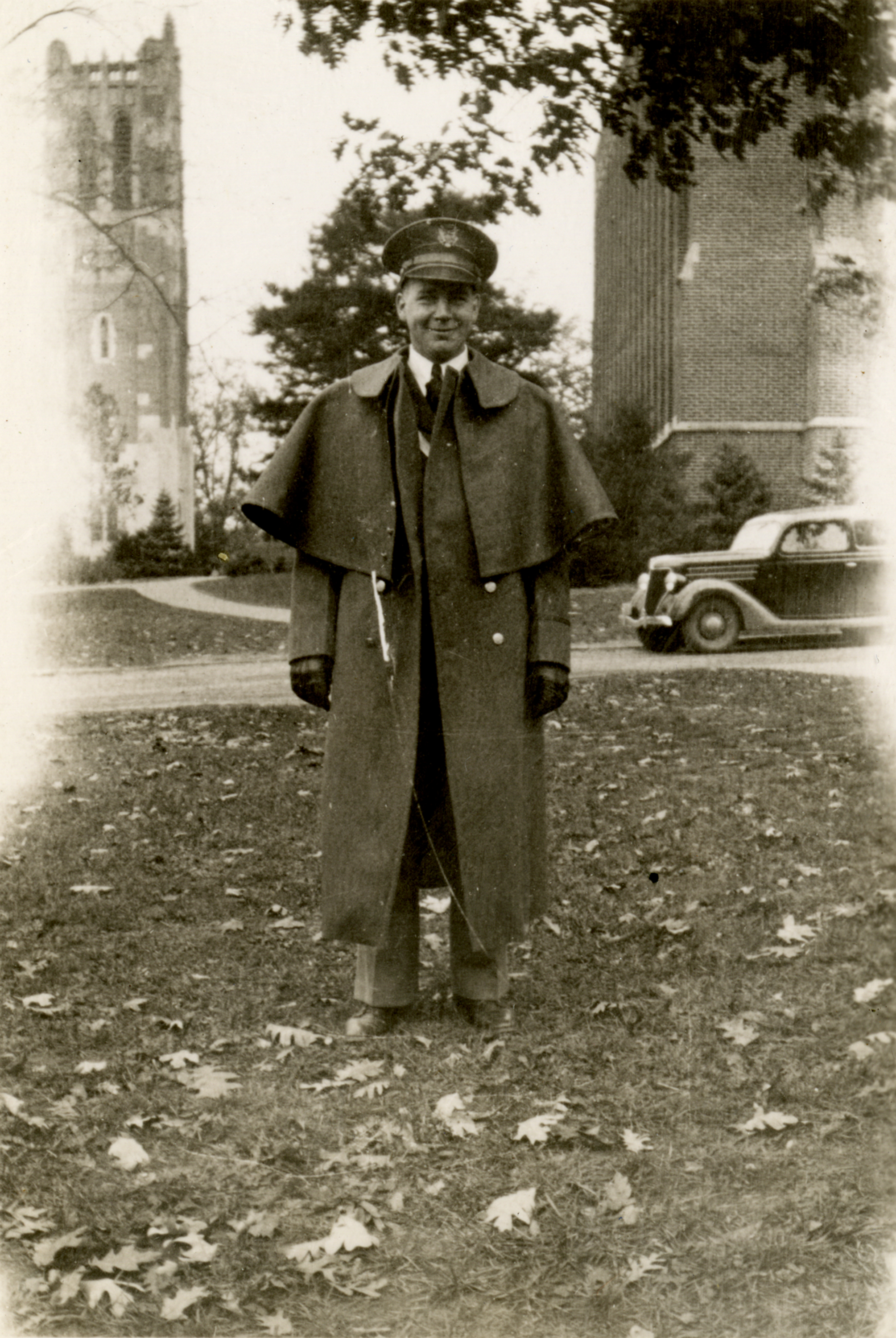 Ture Johnson in uniform infront of Beaumont Tower, circa 1935