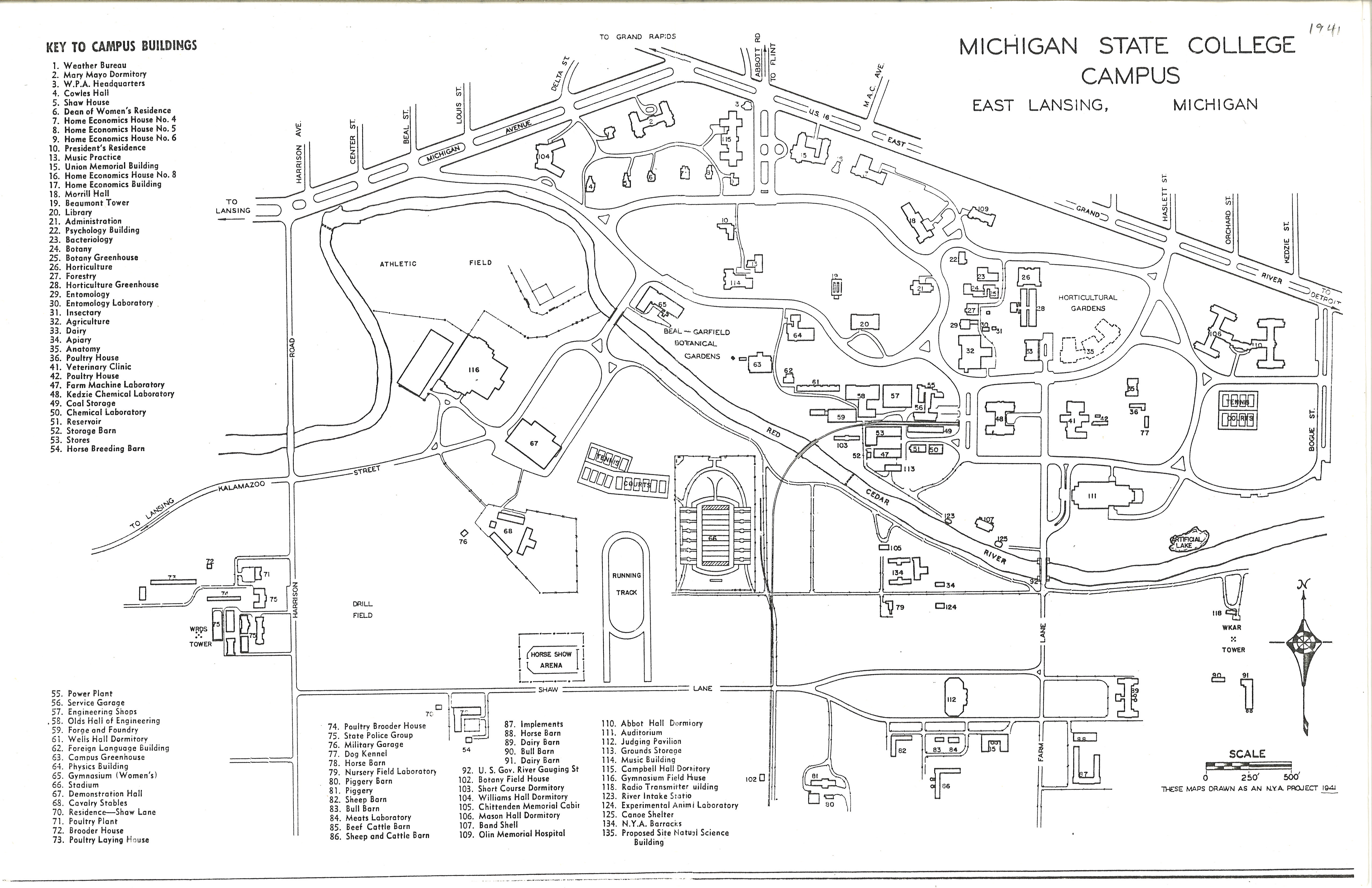 kenyon college campus map On The Banks Of The Red Cedar Michigan State College Campus Map 1941 kenyon college campus map
