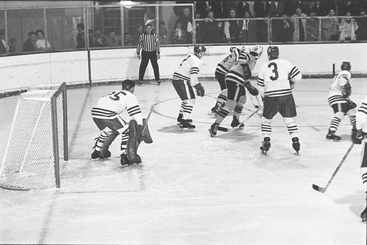 MSU vs. Colorado Hockey Game Action Shot, 1969.