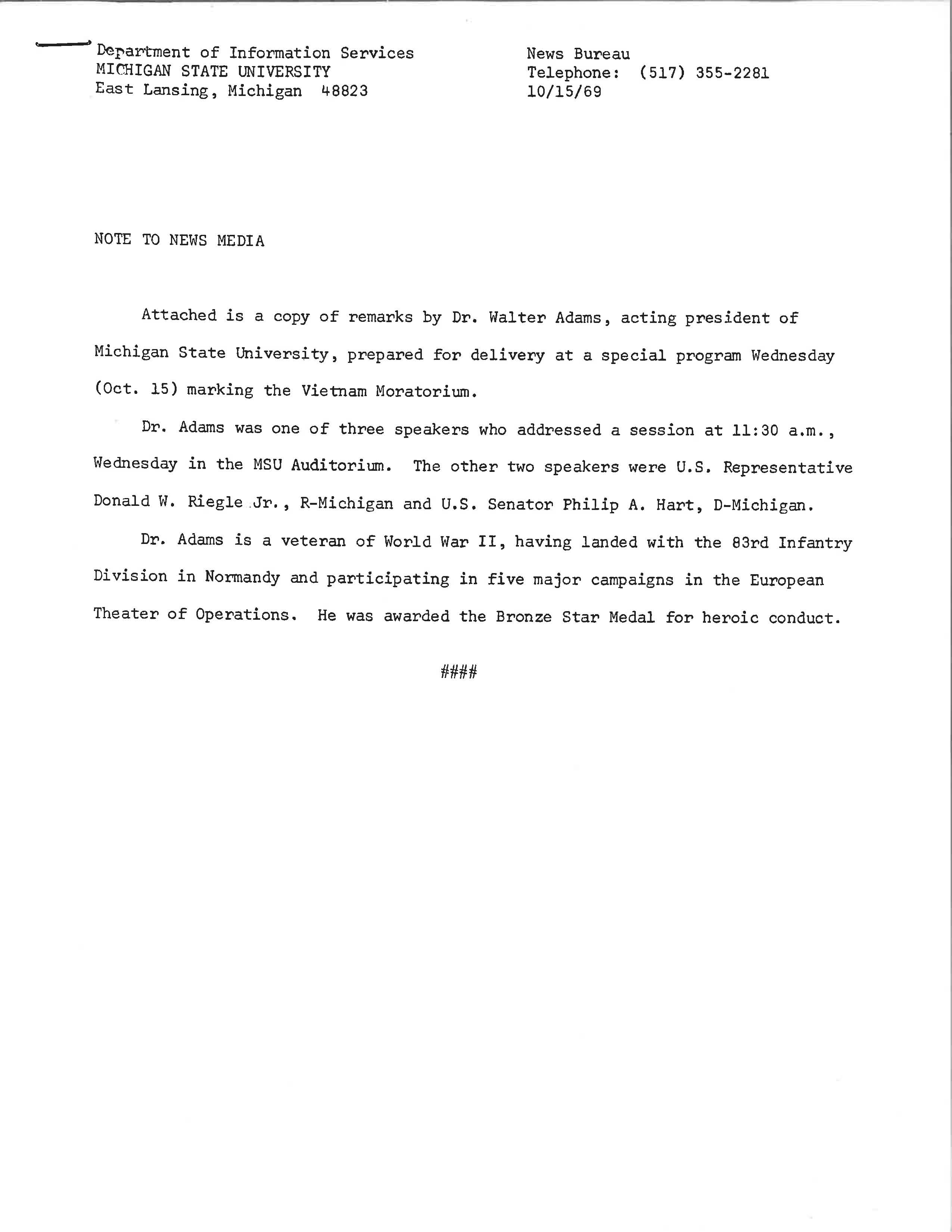 Vietnam Moratorium Walter Adams Remarks