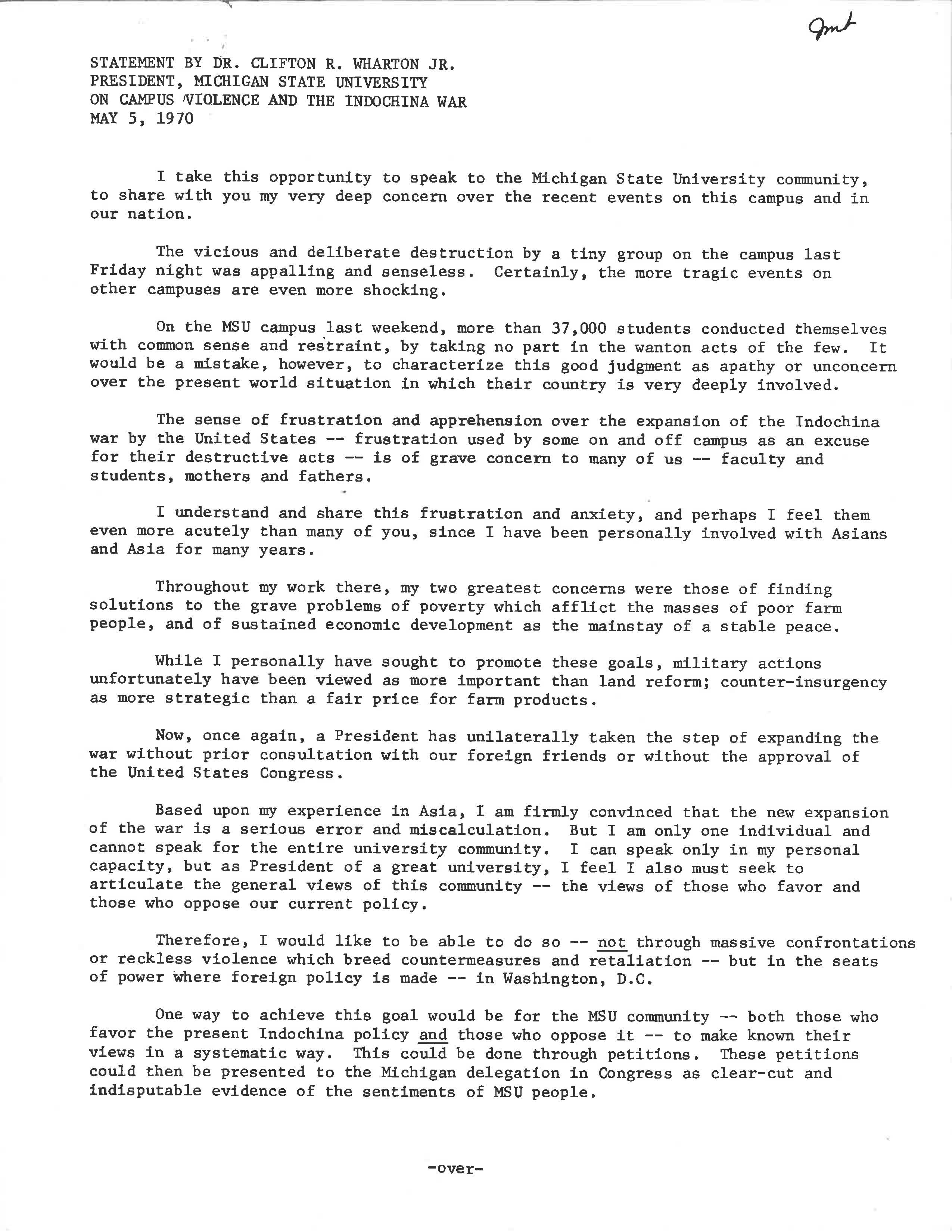 Vietnam War Statement from President Wharton