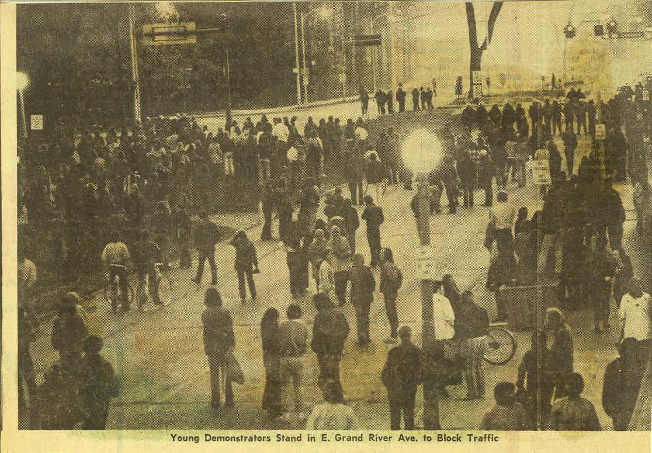 Demonstrators on Grand River Avenue