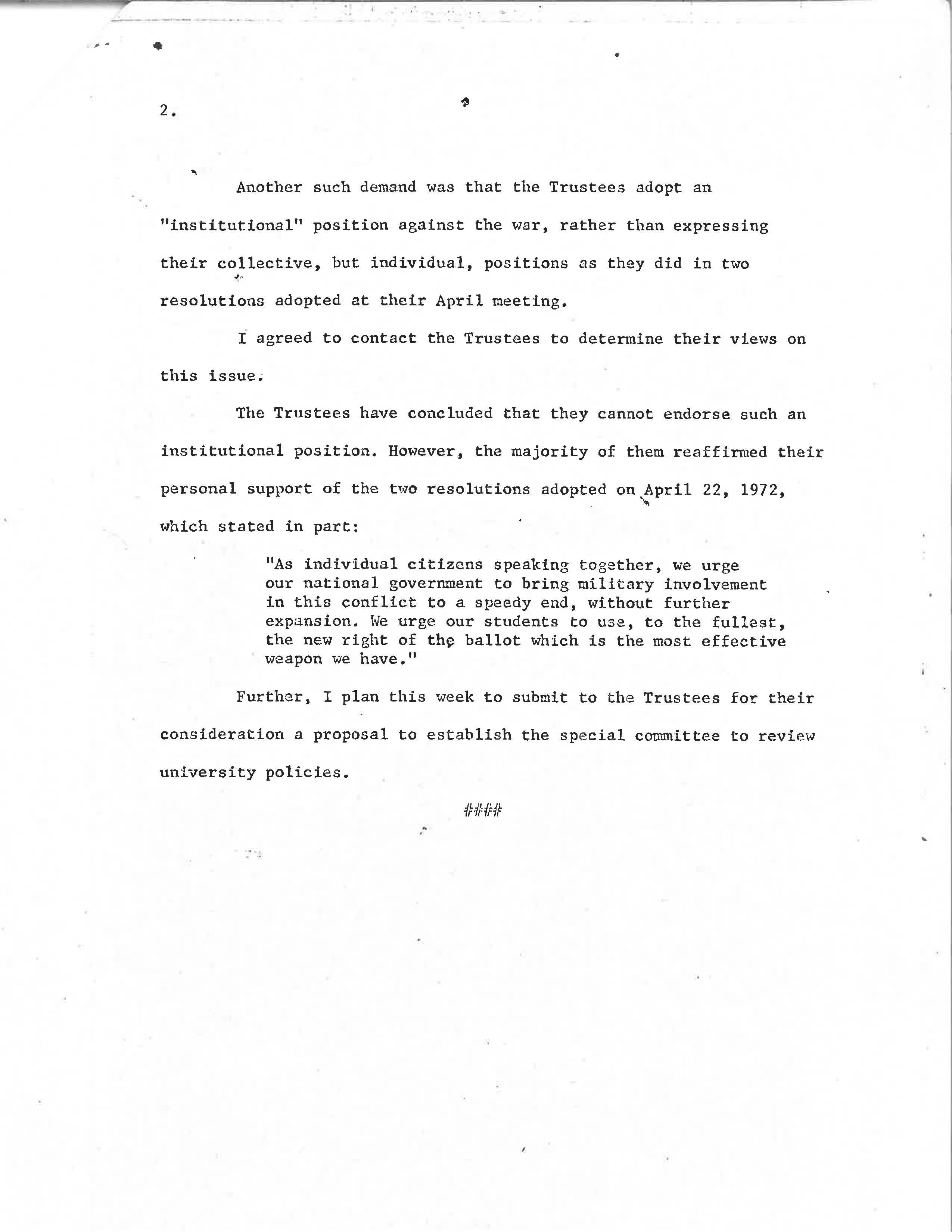President Wharton Statement on Anti-War Demands, Page 2
