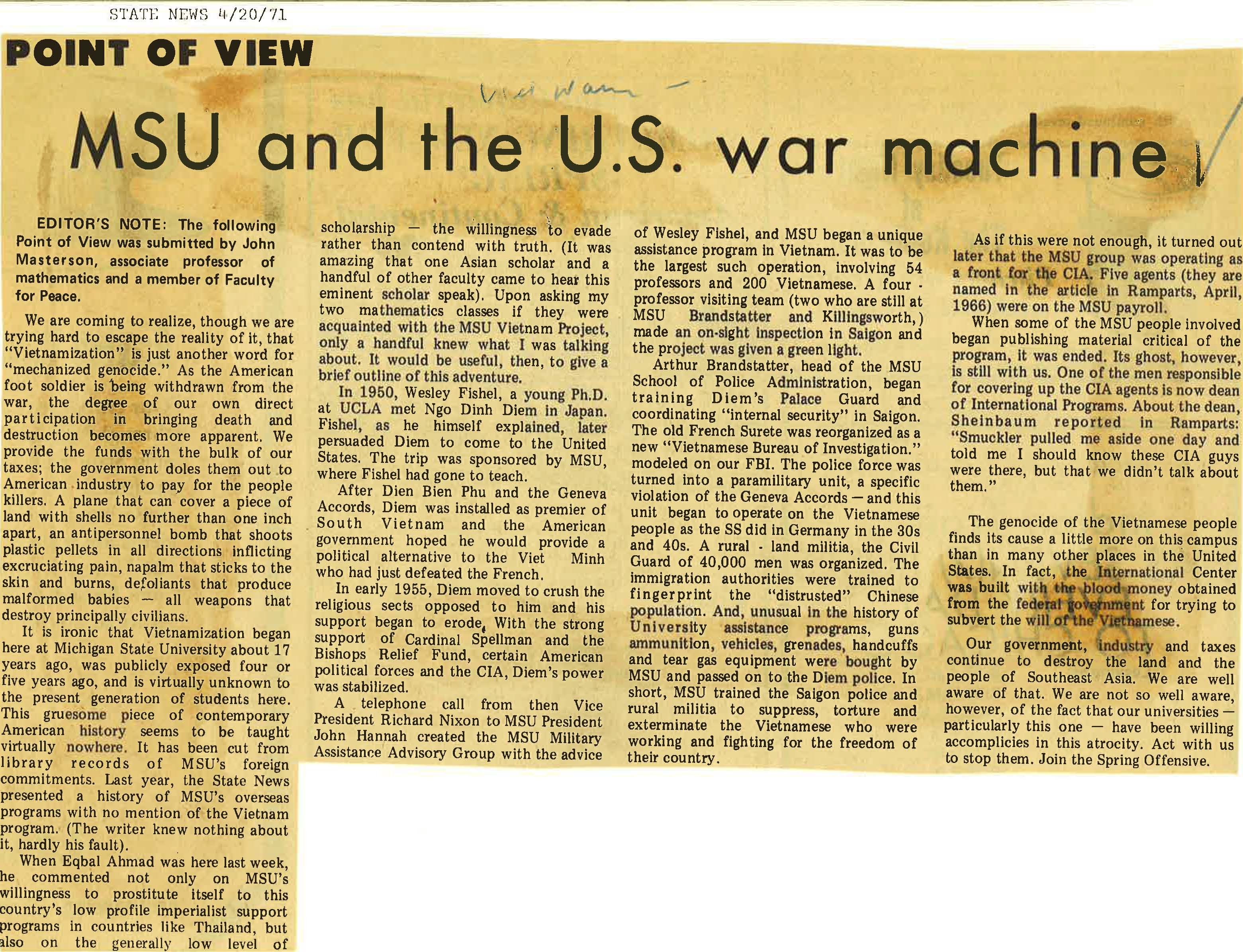 """MSU and the U.S. War Machine"""