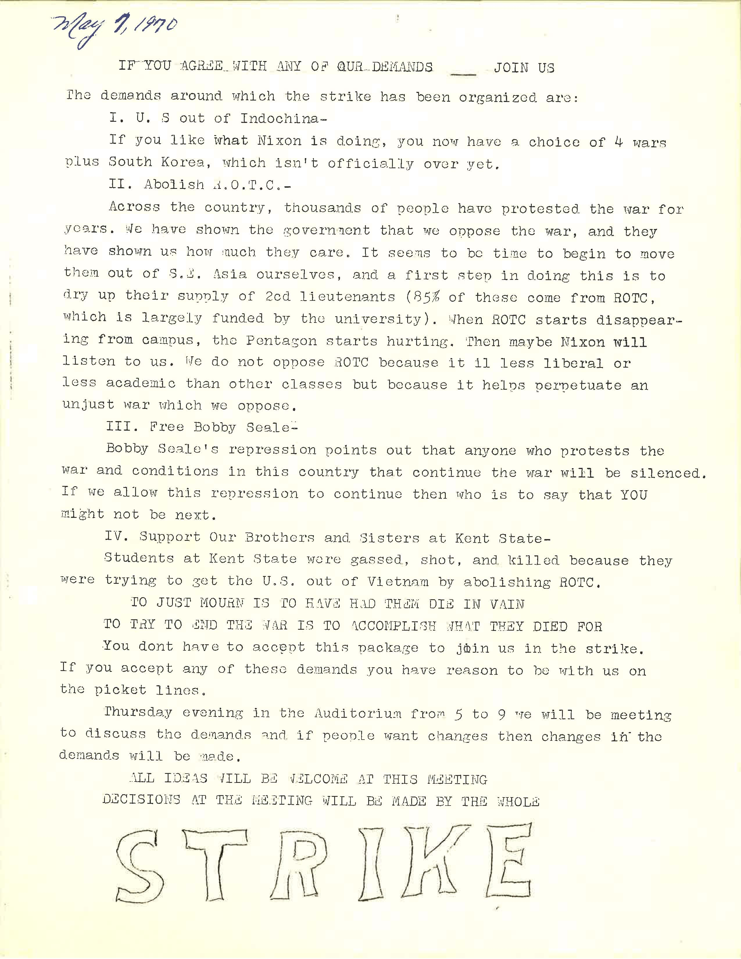 1970 Student Strike Demands Leaflet