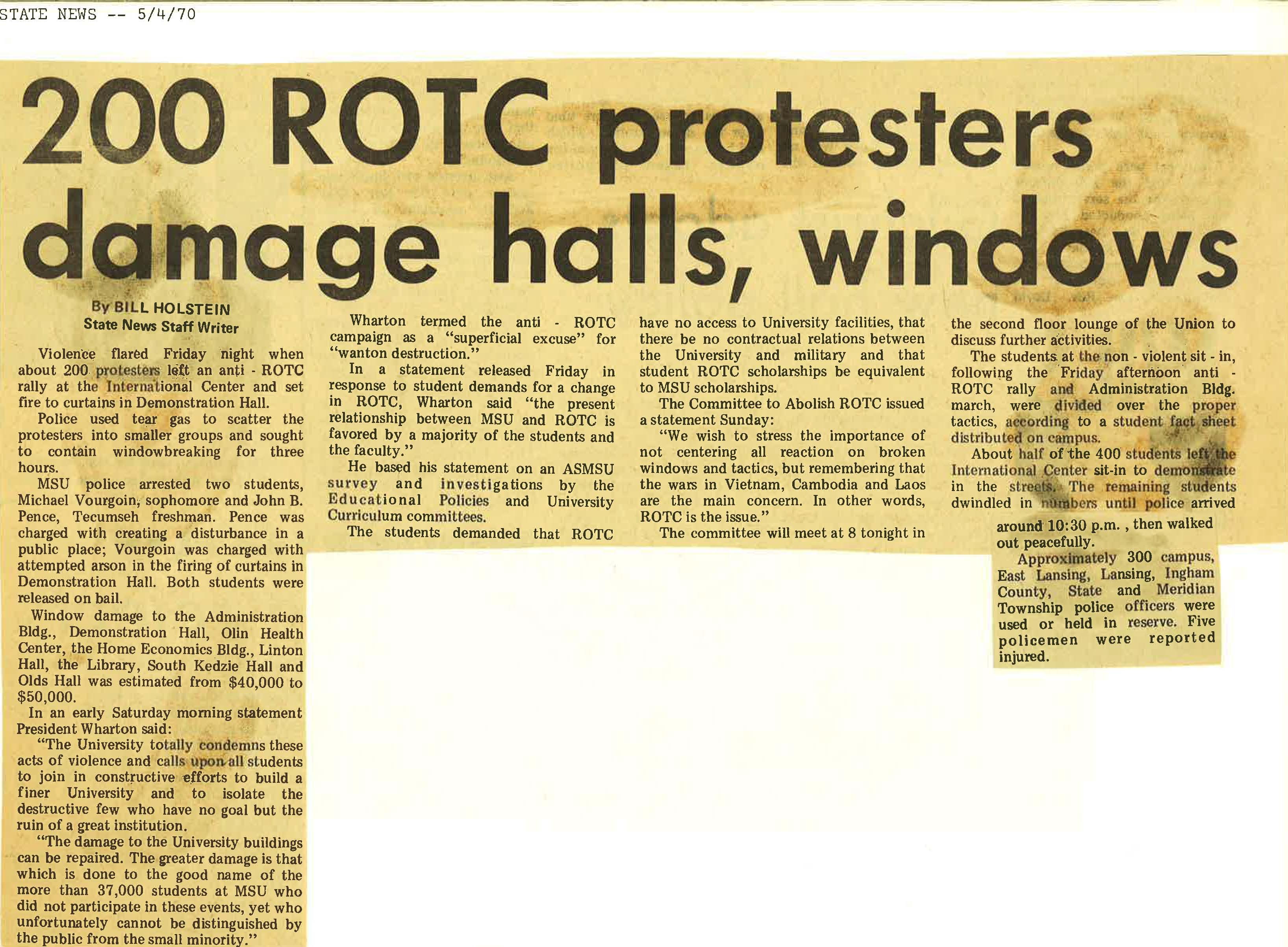 Anti-ROTC Vandalism