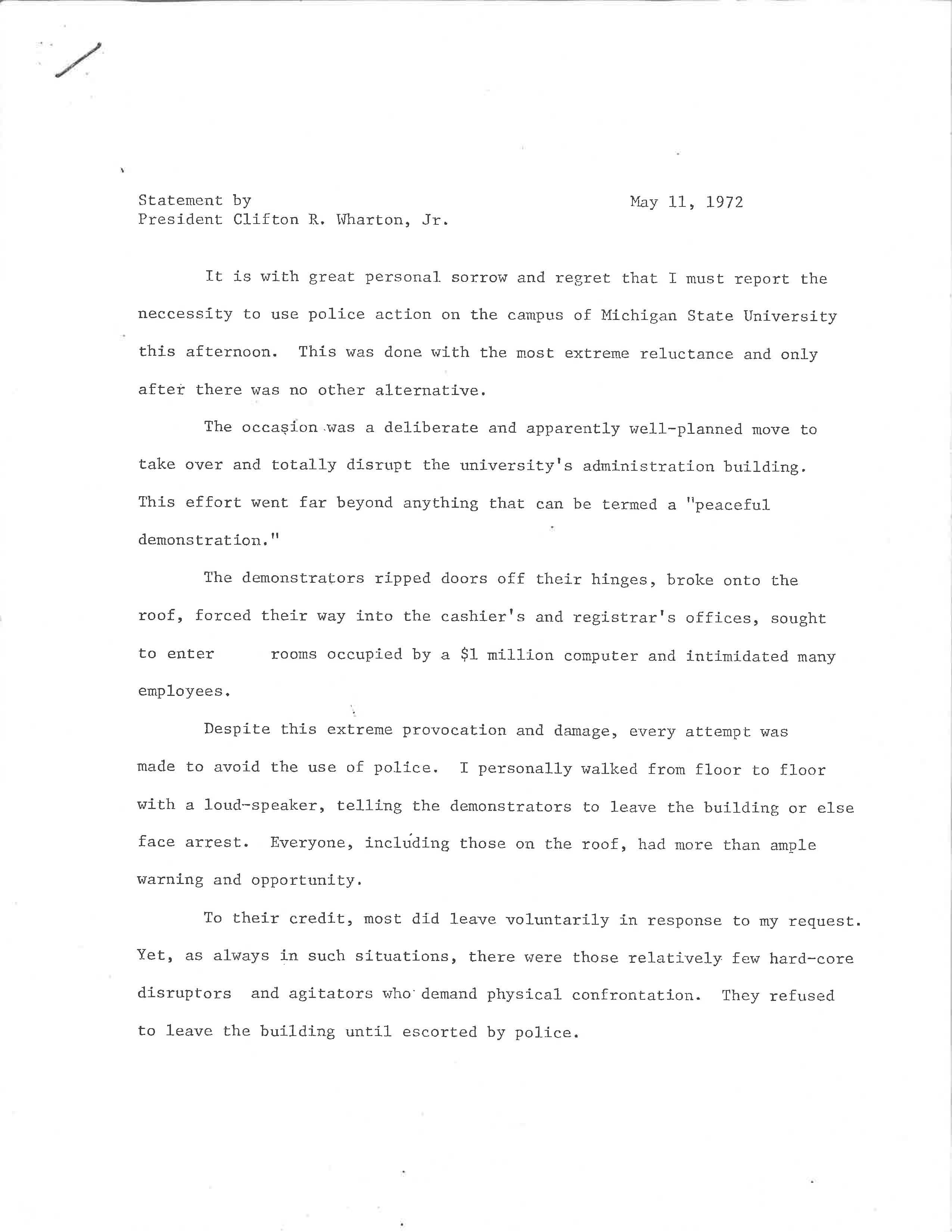 President Wharton Statement