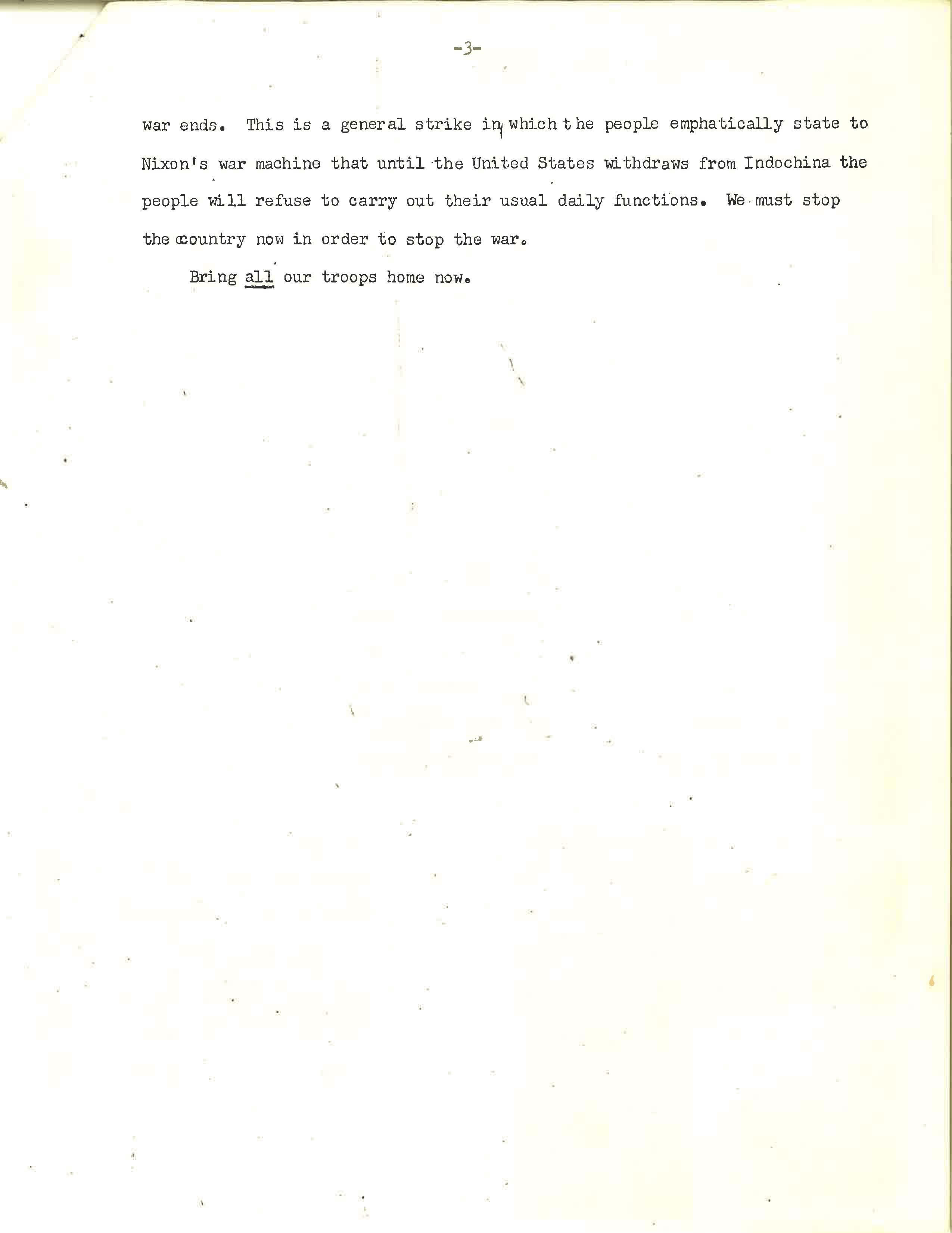 Anti-War Protestors Statement, Page 3