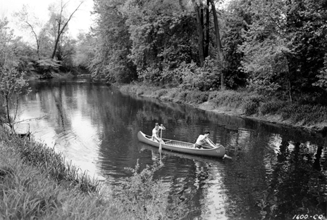 Canoeing on the Red Cedar River, 1945