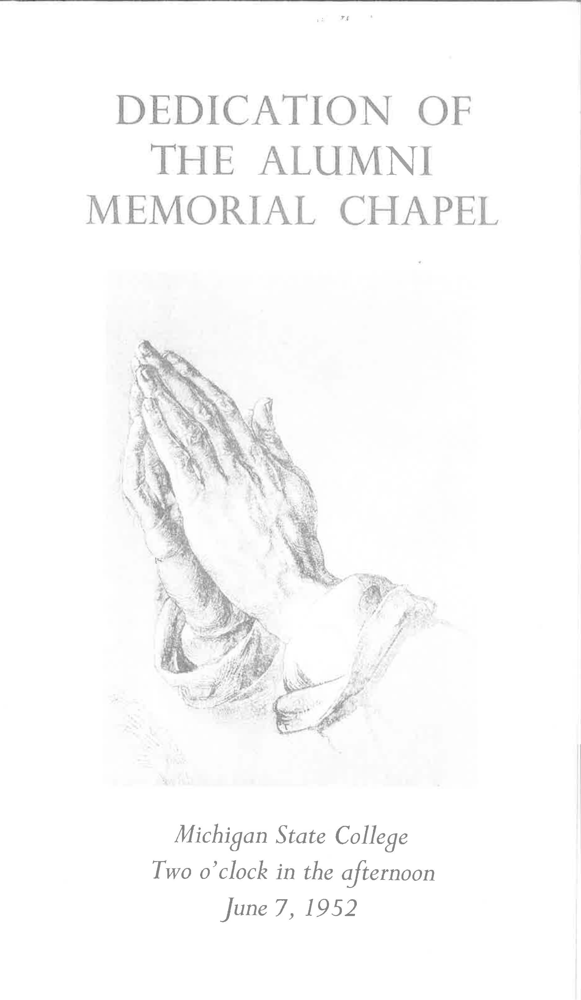Dedication of the Alumni Memorial Chapel Program; June 7, 1952
