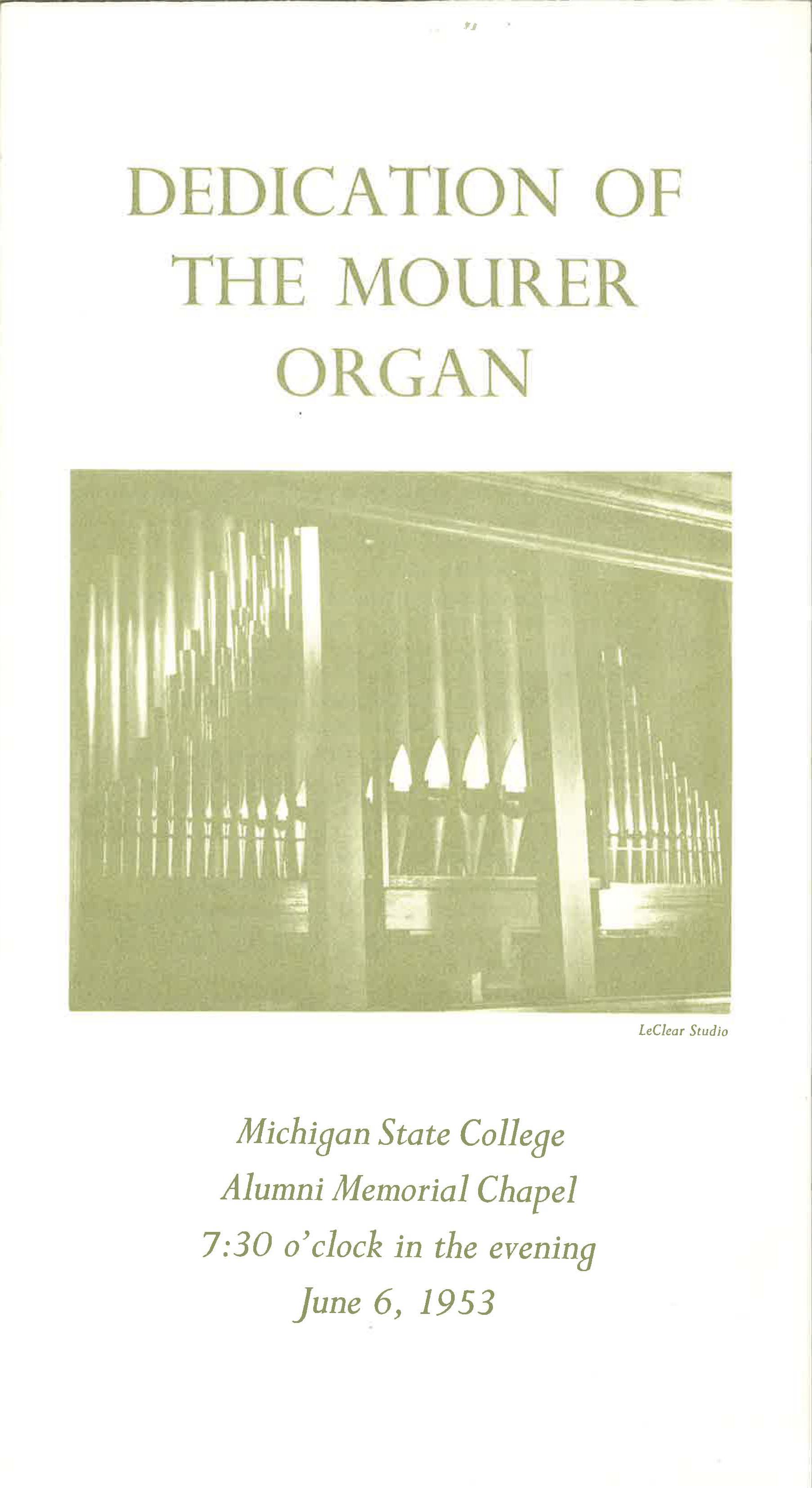 Dedication of the Mourer Organ; June 6, 1953