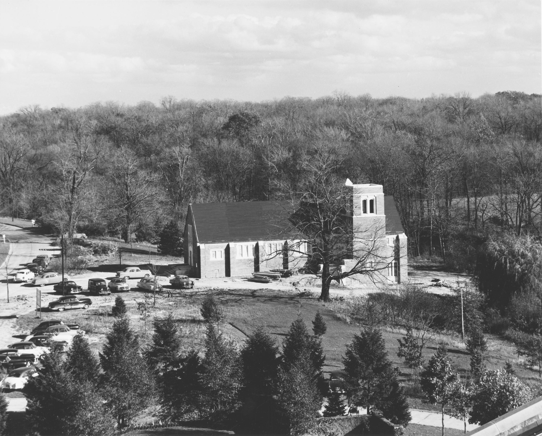 Aerial view of the Alumni Memorial Chapel, 1951