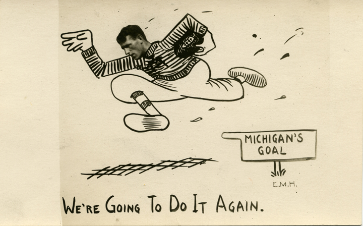 """""""We're Going To Do It Again"""" football postcard, ca. 1914"""
