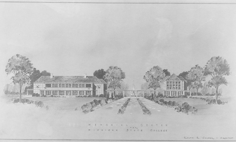 Original drawing of the Alumni Memorial Center, 1946