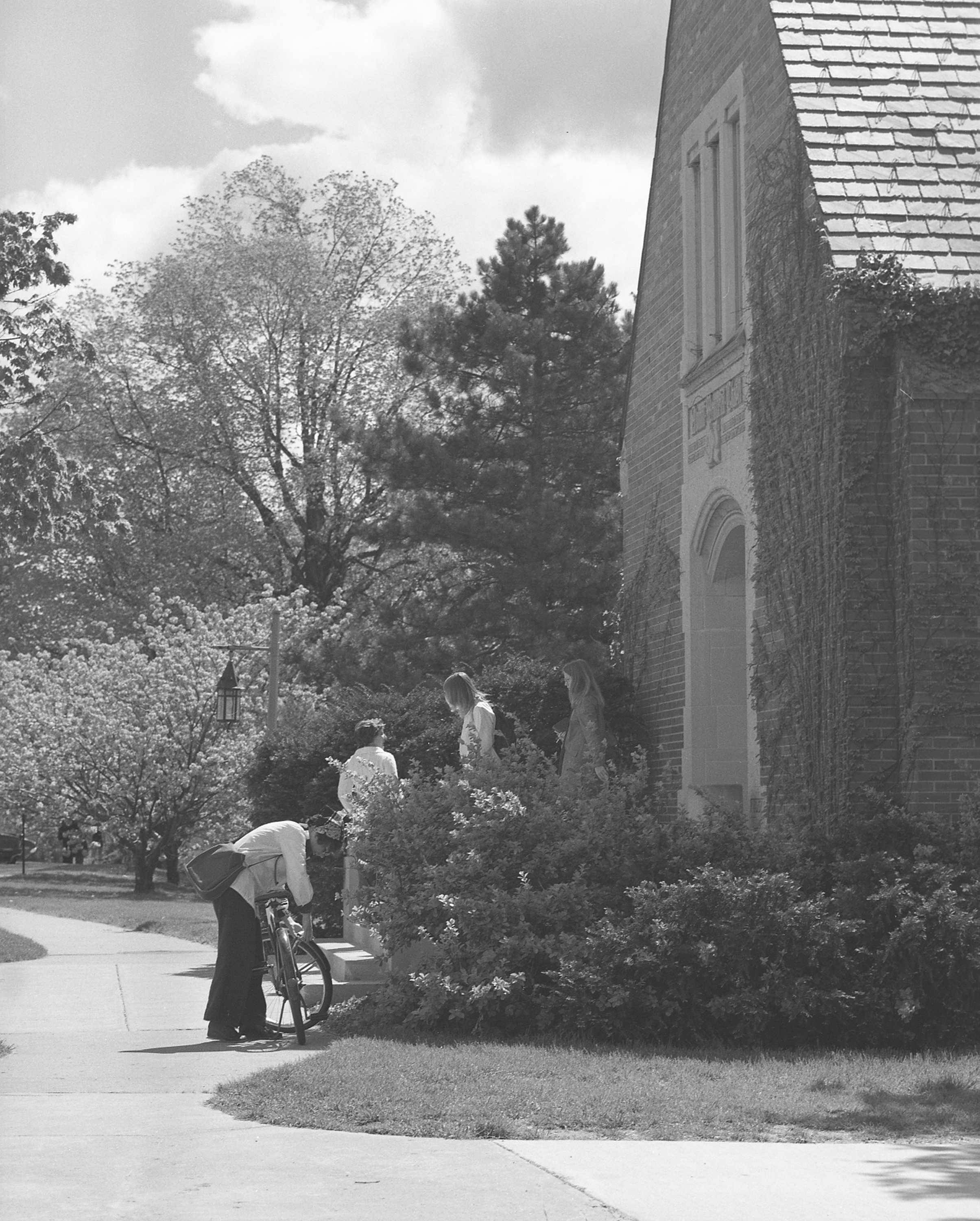 Students walking out of the Chapel; May 15, 1974