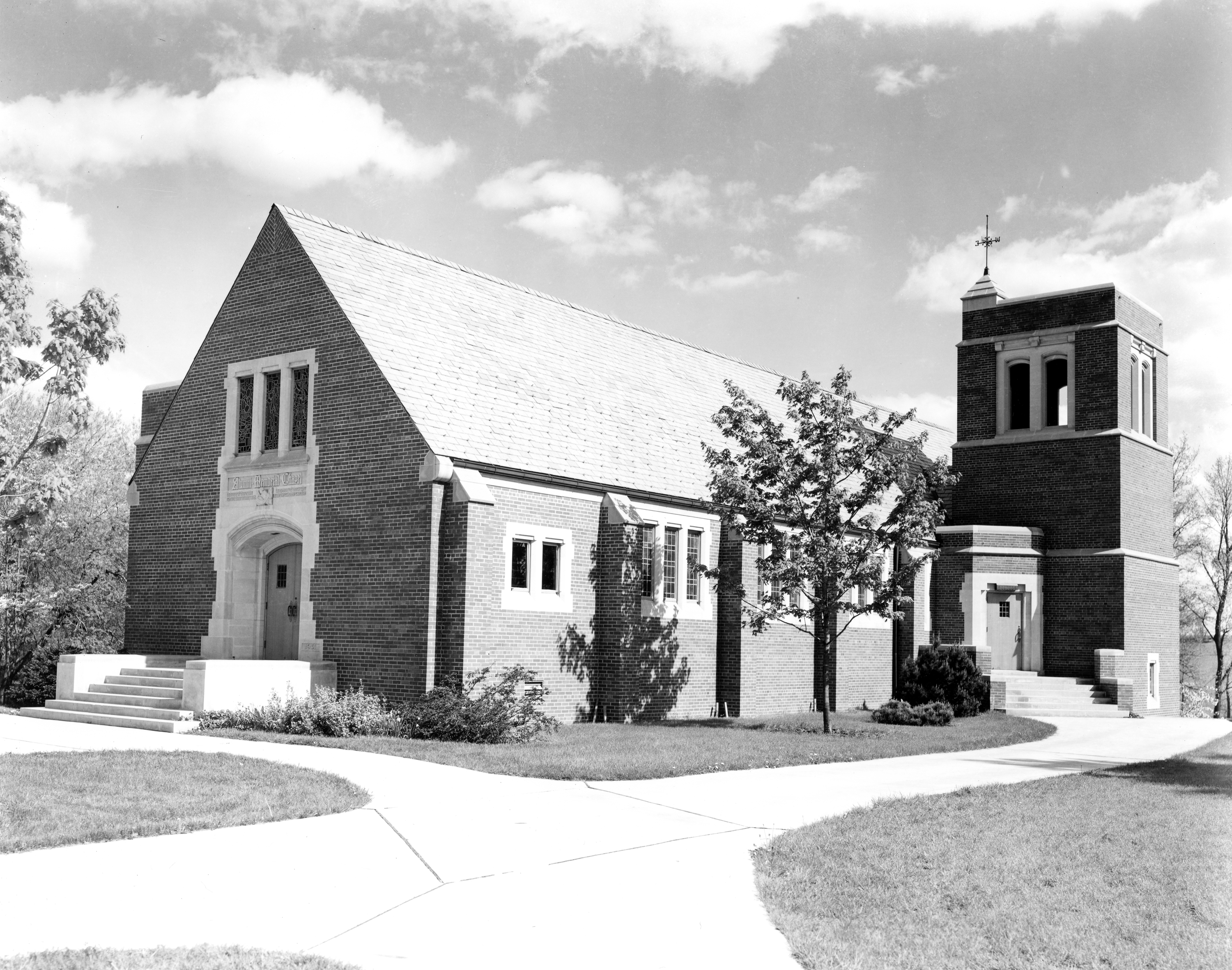 Outside view of the Alumni Chapel, undated
