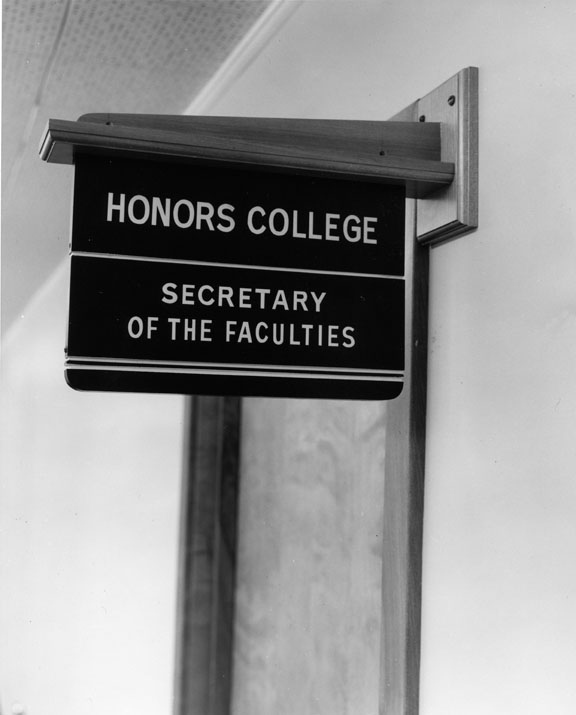 Close up of the Honors College sign, 1957
