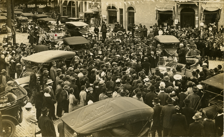 Crowd greeting Governor Ferris after a University of Michigan vs. M.A.C. football game, 1913