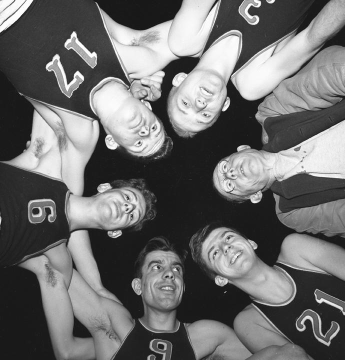 Basketball Huddle with Coach