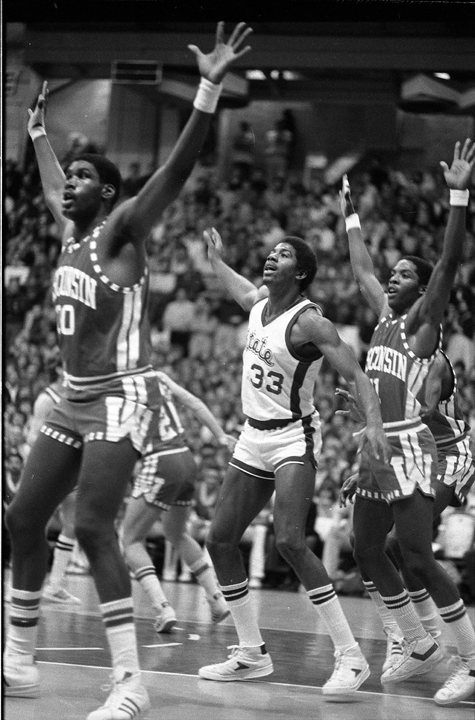 Magic Johnson with hands in air, 1979