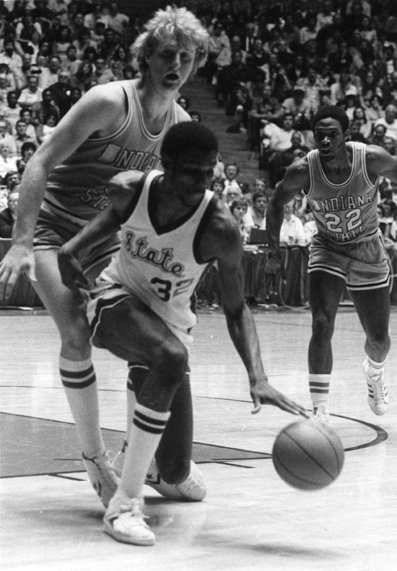Greg Kelser dribbles the ball, 1979